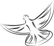 Pombo em voo, pombo no preto, pássaro logotipo em voo, do pombo e do pássaro ilustração do vetor