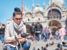 Pombos de alimentação da mulher do turista na praça San Marco Fotos de Stock Royalty Free