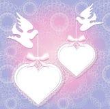 Pombos do casamento com formulários dos corações Fotografia de Stock