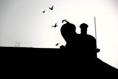 Pombos do voo que passam o cume do palácio chinês Foto de Stock Royalty Free
