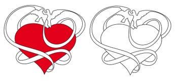 Pombos e coração ilustração royalty free