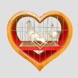Pombos e coração Fotografia de Stock Royalty Free