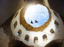 Pombos na igreja fotografia de stock royalty free