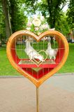 Pombos no coração Fotos de Stock Royalty Free