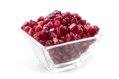 Pomegranade. Pomegranate arils on a white background stock photography