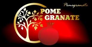 pomegranate ярлыка Стоковая Фотография RF