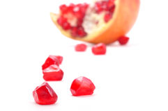 Pomegranate. Pieces out of them from pod royalty free stock photography