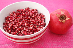 Pomegranate. Some fresh red pieces of a pomegranate Stock Photos