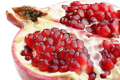Pomegranate. On white background (close-up, isolated Stock Image