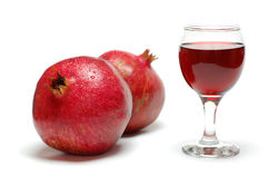 Pomegranate. Pomegranate juice over a white background stock image