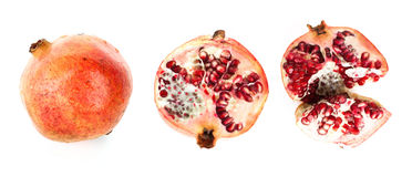 Pomegranate. Whole,cut and broken on white royalty free stock photo