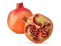 Pomegranate. Fruit and a half, isolated on white background Royalty Free Stock Photos