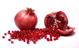 POMEGRANATE. Fresh half and full pomegranate royalty free stock photos
