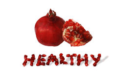 Pomegranate. S and health inscrption performed from arils stock photos