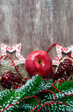 Pomegranate, apple with festive decorations Royalty Free Stock Photos
