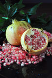Pomegranate on Black Background Royalty Free Stock Photography