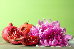 Pomegranate and Chrysanthemum Royalty Free Stock Image