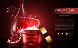 Pomegranate cream ads. Attractive fruit ingredients with cosmetic package and essential oil drop, 3d illustration stock illustration