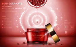 Pomegranate cream ads. Attractive fruit ingredients with cosmetic package and sparkling effects, 3d illustration vector illustration