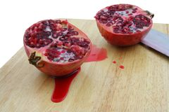 Pomegranate cuted. On white background Stock Photo