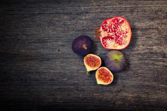 Pomegranate and fig Royalty Free Stock Photos