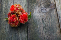 Pomegranate Flower. Withered on a timber table Stock Photo