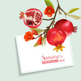 Pomegranate and Flowers Card. Fruit Background. Wedding Invitation. Vector Card vector illustration