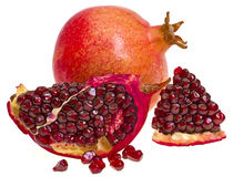Pomegranate fruit composition. Pomegranate fruit, composition on white background Royalty Free Stock Images