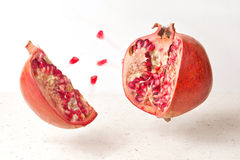 Pomegranate fruit food cut Stock Photos