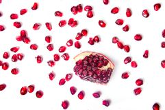 Pomegranate fruit isolated on white Royalty Free Stock Images