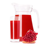 Pomegranate fruit juice in glass pitcher Stock Image
