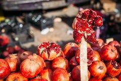 Pomegranate at fruit market royalty free stock images