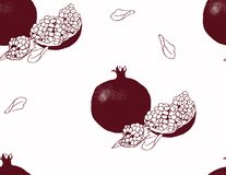 Pomegranate fruit pattern on white background. Royalty Free Stock Photo