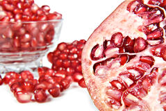 Pomegranate fruit and pipps Royalty Free Stock Image