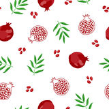 Pomegranate fruit seamless pattern red green illustration Royalty Free Stock Photos