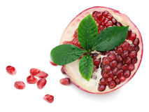 Pomegranate Fruit With Green Leaves On White Background Stock Images