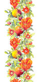 Pomegranate Fruits, Red Flowers. Seamless Floral Border. Watercolor Banner Royalty Free Stock Photography