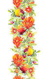 Pomegranate fruits, red flowers. Seamless floral border. Watercolor stripe Stock Images