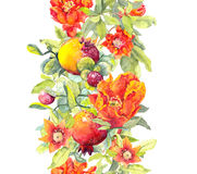 Pomegranate fruits, red flowers. Seamless floral frame . Watercolor strip Royalty Free Stock Photos