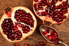 Pomegranate fruits and seeds Royalty Free Stock Image
