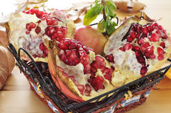 Pomegranate fruits. Some pomegranate fruits in a basket on a wooden table stock image
