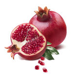 Pomegranate half cut seeds leaves isolated Royalty Free Stock Image