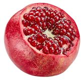 Pomegranate half isolated. On white Clipping Path Stock Photo