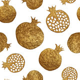 Pomegranate hand painting seamless pattern. Gold abstract fruit background. Stock Photography