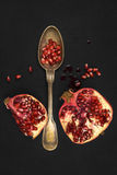 Pomegranate isolated on black background, top view. Royalty Free Stock Photography