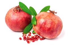 Pomegranate isolated on white background. Two pomegranate isolated on white background stock photo