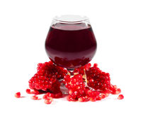 Pomegranate juice. And seeds  on white Stock Photography