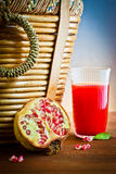 Pomegranate, juice drink for picnic Stock Photo