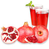 Pomegranate juice in a glass and ripe pomegranate. Isolated on white background. Close-up. Studio photography Royalty Free Stock Photos