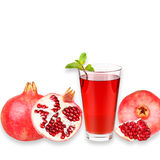 Pomegranate juice in a glass and ripe pomegranate. Isolated on white background. Close-up. Studio photography Stock Photo
